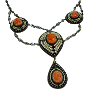 Carved Coral Cameo Seed Pearl Sterling Silver Cannetille Festoon Necklace Breath Taking