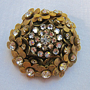 Miriam Haskell Brooch Gold Tone Flowers and Clear Rhinestones