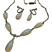 Opaline Opalescent Opalite Glass Dangle Choker Necklace Earrings