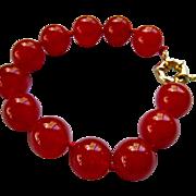 SALE Cherry Red Jadeite Bracelet 14-15mm Diameter Beads Hand Knotted