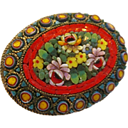 Exceptional Micromosaic Pin Brooch Made Italy