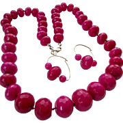 Large Faceted Fuchsia Gemstone Bead Necklace & Earring Set