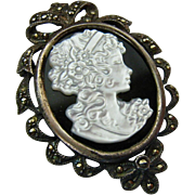 Sterling Silver 925 Black Onyx Marcasite MOP Cameo Brooch Pendant Signed