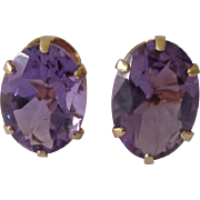 Large 14K Oval Amethyst Clip Earrings 8-9ct Estimated Total Gem Weight