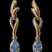 SALE 14K Gold Blue Topaz Dangle Earrings
