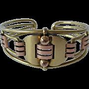 Krementz Art Deco Two Tone Gold Plate Cuff Bracelet