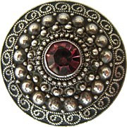 935 Silver Brooch Jerusalem Round Cannetille Amethyst Paste