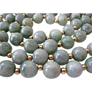 Celadon Nephrite Jade Bead Necklace 14K Gold Spacers
