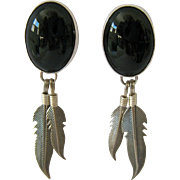 Sterling Silver 925 Black Onyx Feathers Native American Design Post Earrings