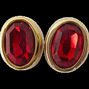 Large Swarovski Red Crystal Post Earrings Signed