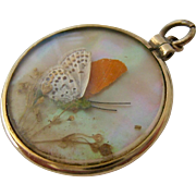 8K-9K Gold Double Sided Butterfly Wing Glass Locket Pendant