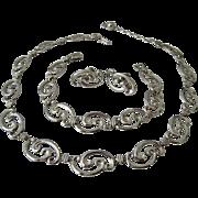 WRE Richards Co. Sterling Silver 925 Parure Necklace Bracelet Earrings