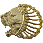MMA Gilt Sterling Silver 925 Lion Head Brooch or Pendant
