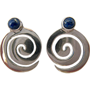 SALE Sterling Silver 925 Spiral Design Earrings with Lapis Cabochon
