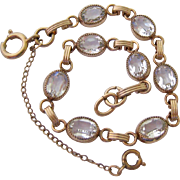 Gold Filled Clear Crystal Bracelet Safety Chain