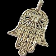 Sterling Silver 925 Filigree Hamsa Pendant