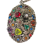 Large Multi-Colored Rhinestone Silver Tone Pendant Necklace Domed Floral Design
