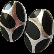 Sterling Silver 925 Black Inlaid Earrings Omega Backs
