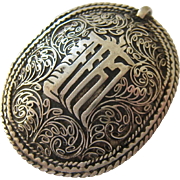 Silver Tone Pendant Ornate Design 3-D Domed Possibly Arabic