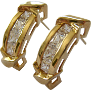 14K Gold & Channel Set CZ Post Earrings
