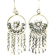 Silver Tone Ornate Dangle Earrings Ethnic