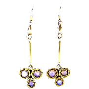 Vintage 14K Gold Opal Dangle Earrings