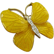 Carolee Yellow Butterfly Pin with Clear Rhinestones