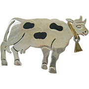 Sterling Silver 925 Holstein Cow In Brooch Pendant with Brass Bell
