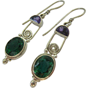 Sterling Silver 925 Amethyst and Green Quartz Prasiolite  Dangle Earrings