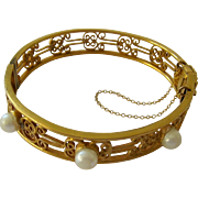 Hinged Bangle Open Work Gold Tone with Safety Chain and Simulated Pearls