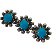 Small Sterling Silver 925 Turquoise Flower Pin