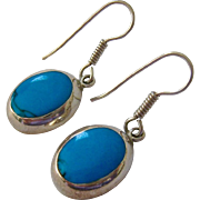 Sterling Silver 925 Turquoise Stones Wire Dangle Earrings