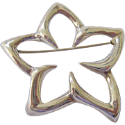 Tiffany & Co Sterling Silver 925 Plumeria Flower Star Brooch PIn Dated 1996