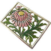Sterling Silver 925 and Enamel Floral Cut-Out Design Brooch Pin