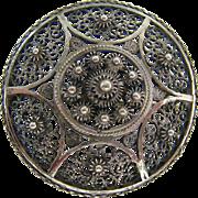 Sterling Silver 925 Filigree Cannetille Brooch