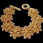 SALE Anne Klein Matte Gold Tone Flower Link Bracelet