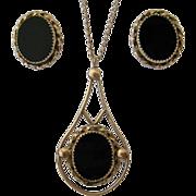 SALE 12K Gold Filled Black Stone Pendant Necklace Earrings Set Signed
