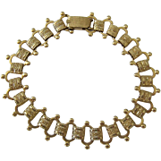 Gold Tone Book Chain Bracelet by Sarah Coventry
