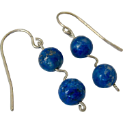 SALE Sterling Silver 925 Lapis Dangle Earrings