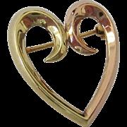 SALE Krementz 14K Gold Heart Pin Two Tone Yellow Rose Gold