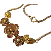 Krementz Two Tone Gold Plate 3-D Floral Necklace Choker