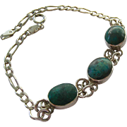 Sterling Silver 925 bracelet with 3 Teal Green Cabochons