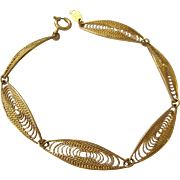 Trifari Gold Tone Filigree Bracelet