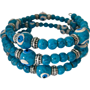 Turquoise Glass Bead Coil Bracelet Eyeball Beads