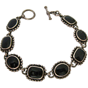 Sterling Silver 925 Bracelet Black Inlay Toggle Claps Beaded Edges