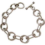 Sterling Silver 925 Open Link Bracelet Toggle Clasp