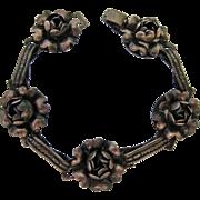 Vintage Sterling Silver 925 3-D Flower Bracelet