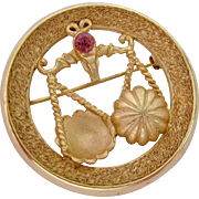 Crown Trifari Libra Horoscope Astrology Pin Brooch