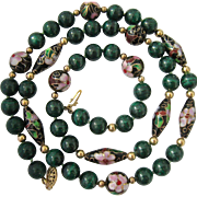 Malachite and Cloisonné Bead Necklace with Gold Filled Spacers Hand Knotted