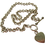 Sterling Silver 925 Toggle Heart Charm Necklace